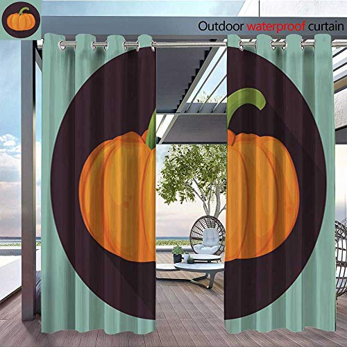 Fashions Drape Pumpkin for Halloween Pumpkin Isolated on White Vector Illustration Outdoor Curtain Waterproof Rustproof Grommet Drape W72 x -