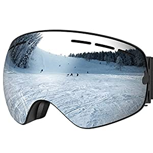 UShake Ski Goggles, Snow Goggles, Snowboard Goggles with Matte Anti-fog Anti-scratch 100% UV Protection Lens TPU Frame (Black Frame with Silver Lens)