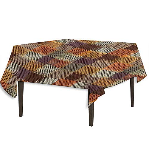 - kangkaishi Geometric Printed Tablecloth Grunge Checkered and Striped Quilt Pattern Mottled Digital New Retro Design Outdoor and Indoor use W50.4 x L50.4 Inch Caramel Orange
