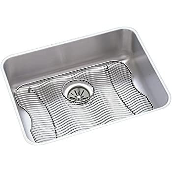 Superior Elkay Lustertone ELUH2115DBG Single Bowl Undermount Stainless Steel Sink Kit