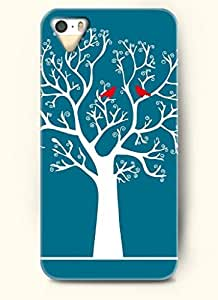 OOFIT Phone Case Design with White Tree and Red Bird for Apple iPhone 5 5s