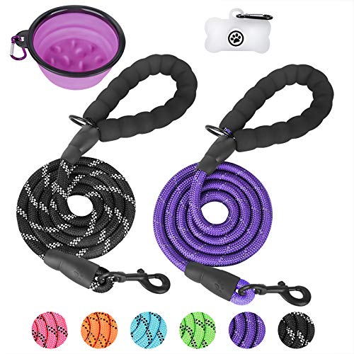 2 Pack Dog Leash, 5 FT Heavy Duty Rope Leash with Soft Padded Handle - Highly Reflective Threads for Medium Large Dog Training Walking & Traffic Control Safety (with Poop Bags Dispenser & Pet Bowl)