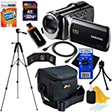"Samsung HMX-F90 Black Camcorder with 2.7"" LCD Screen and HD Video Recording + 10pc Bundle 32GB Deluxe Accessory Kit w/ HeroFiber® Ultra Gentle Cleaning Cloth"