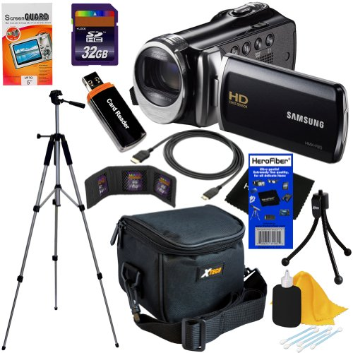 Samsung HMX-F90 Black Camcorder with 2.7 LCD Screen and HD Video Recording  10pc Bundle 32GB Deluxe Accessory Kit w HeroFiber Ultra Gentle Cleaning Cloth