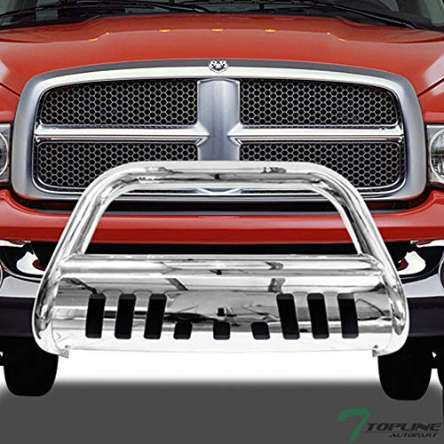 Topline Autopart Polished Stainless Steel Bull Bar Brush Push Front Bumper Grill Grille Guard With Skid Plate For 02-05 Dodge Ram 1500 ; 06-09 1500 Mega (Extended Crew) Cab ; 03-09 2500/3500 (Dodge Ram Brush Guards And Bull Bars)