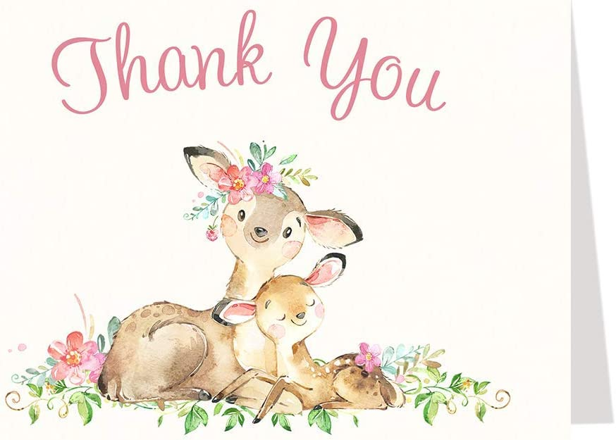 Deer Baby Shower Thank You Cards Girl Pink Thank You Notes Mommy and Me Forest Woodland Watercolor Flowers Pink Girls It's A Girl Thanks (50 count)