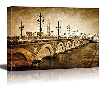 Canvas Prints Wall Art - Bordeaux River Bridge with St Michel Cathedral Vintage/Retro Style | Modern Wall Decor/Home Decoration Stretched Gallery Canvas Wrap Giclee Print & Ready to Hang - 16