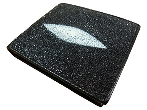 (Authentic Stingray Skin Leather Bi-fold Wallet Black with White Pearl 6 Card Slots)