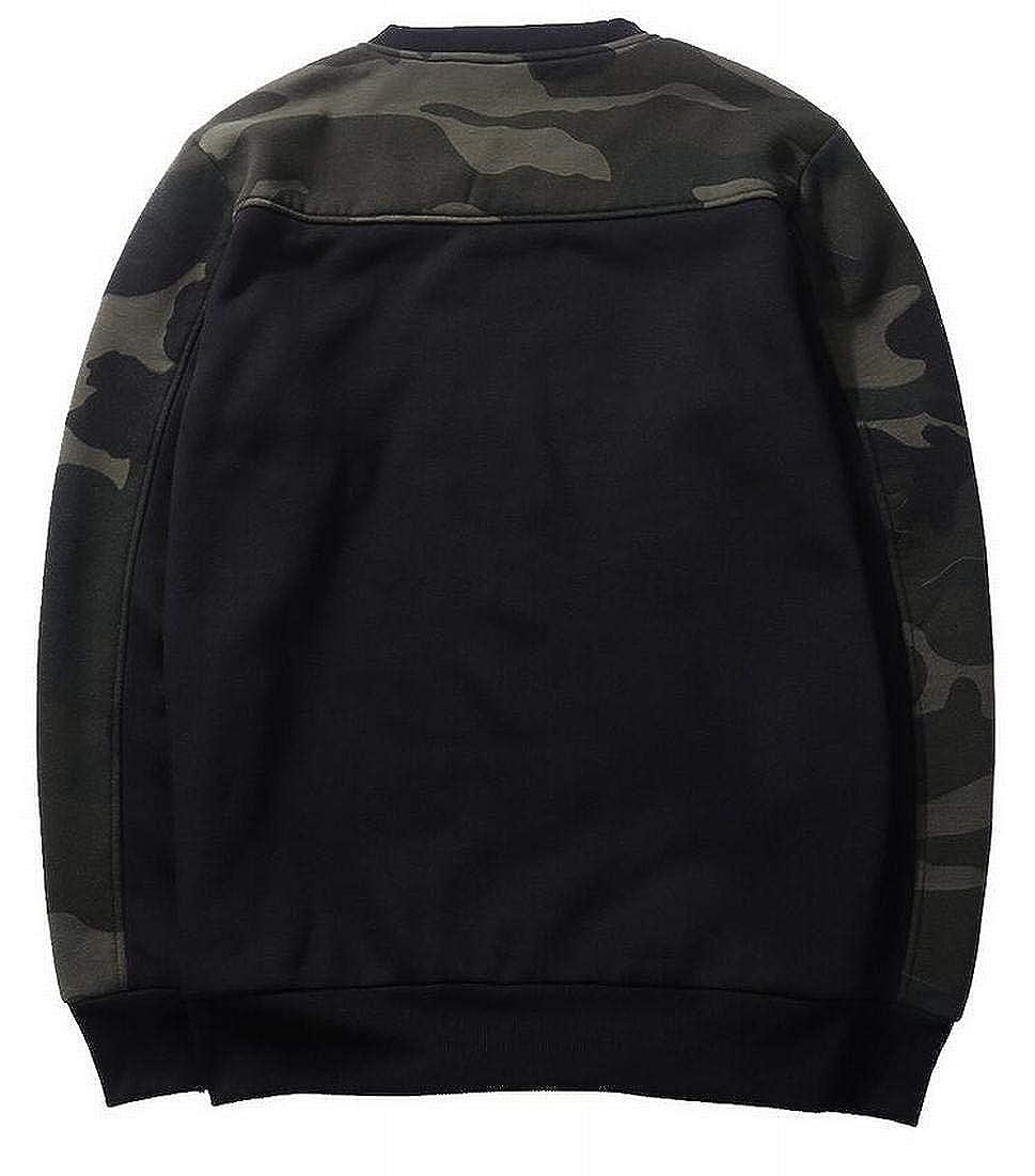 Rrive Mens Custom Fit Camo Patchwork Stylish Long Sleeve Pullover Sweatshirts