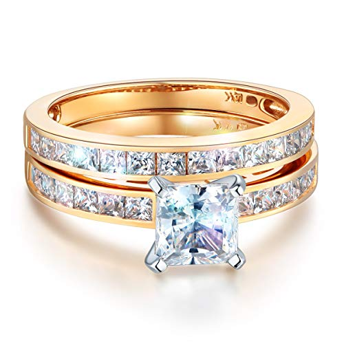 Wellingsale Ladies Solid 14k Yellow Gold CZ Cubic Zirconia Princess Cut Engagement Ring with Side Stones and Wedding Band Bridal Set - Size 7.5