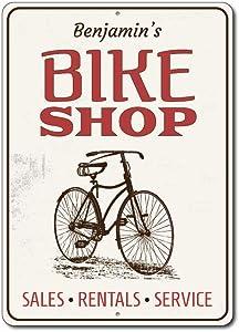 "Bike Shop Sign, Vintage Bicycle Sign, Bike Sign, Custom Bicyclist Gift Sign, Bike Service Wall Aluminum Decor - 10"" x 14"""