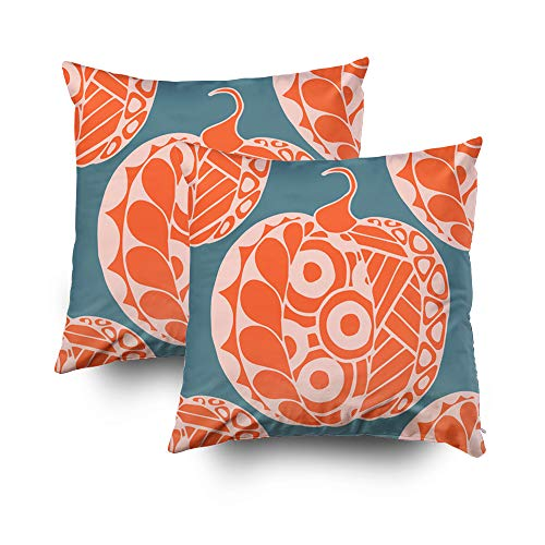 GROOTEY Decorative Cotton Square Set of 2 Pillow Case Covers with Zippered Closing for Home Sofa Decor Size 16X16Inch Costom Pillowcse Throw Cover Cushion, Christmas Halloween Zentangle Pattern Drawn