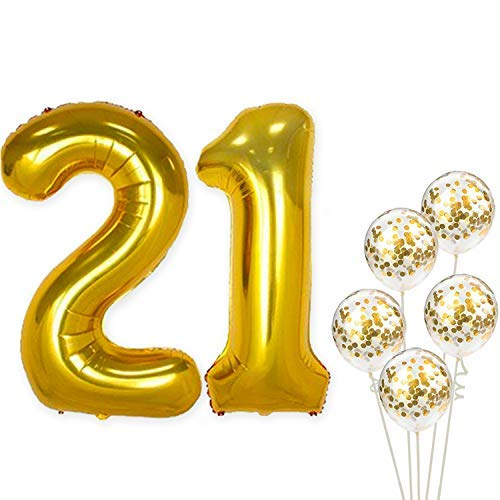 KatchOn Number 21 and Gold Confetti Balloons - Large, 40 Inch Foiil Gold Balloons | 5 Gold Confetti Balloons, 12 Inch | 21st Birthday Party Decorations | Party Supplies for Anniversary Décor ()