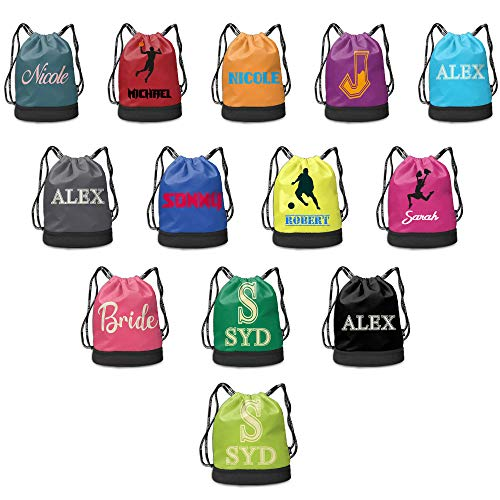 Personalized Drawstring Backpack Bag Custom Swim Team Sackpack with Dry Wet Separated Sport Gym Cinch Bag]()