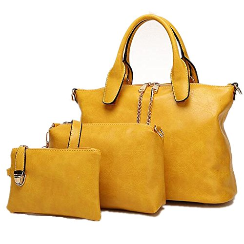 Top PCS Newbestyle Business Handle Women 3 Handbags Satchel Yellow qwBwaSpx