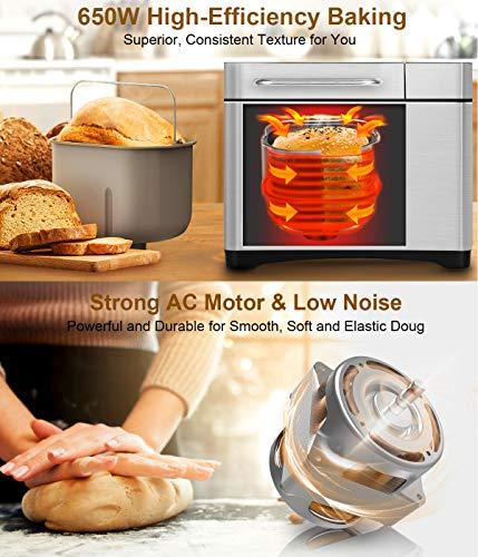 KBS MBF-013 2LB Maker Gluten Free Breadmaker with Fruit&Nut 3 LCD Display Interface,