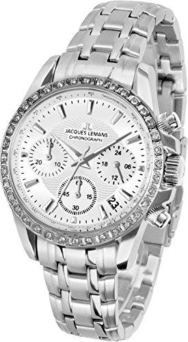 Jacques Lemans Women's Sport Liverpool 35mm Steel Bracelet & Case Quartz White Dial Analog Watch 1-1864C