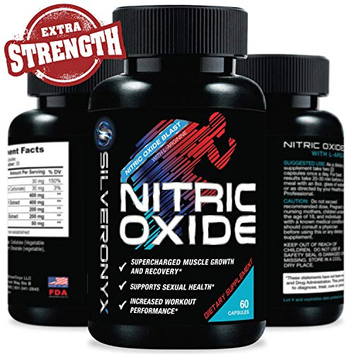 Extra Strength Nitric Oxide Supplement L Arginine 1300mg - Citrulline Malate, AAKG, Beta Alanine - Premium Muscle Building No Booster for Strength, Vascularity & Energy to Train Harder - 60 Capsules (The Best No2 Supplement)
