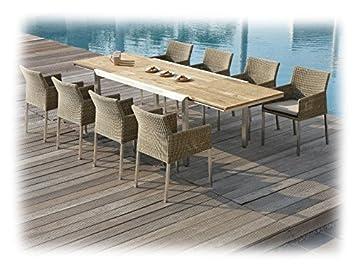 Zebra KUBEX d salon de jardin 9 pièces avec table en teck ...