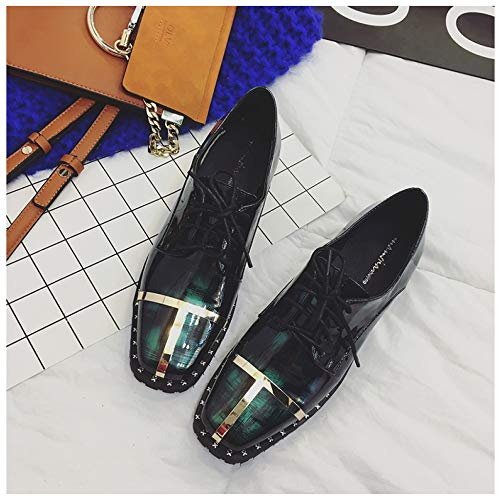 Bajo De Dedo Los Botas Cargadores Tobillo Green Y Mujeres Chunky Zapatos Cerrado Pie Oxford Arriba Tacón Ata Brogue Para Las Del w7vnE1