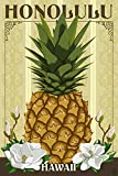 Honolulu, Hawaii - Colonial Pineapple (24x36 SIGNED Print Master Giclee Print w/ Certificate of Authenticity - Wall Decor Travel Poster)