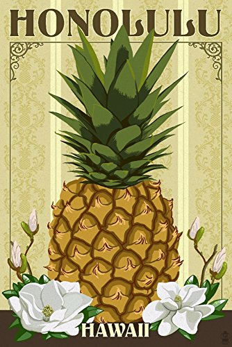 Honolulu, Hawaii - Colonial Pineapple (24x36 SIGNED Print Master Giclee Print w/ Certificate of Authenticity - Wall Decor Travel Poster) by Lantern Press