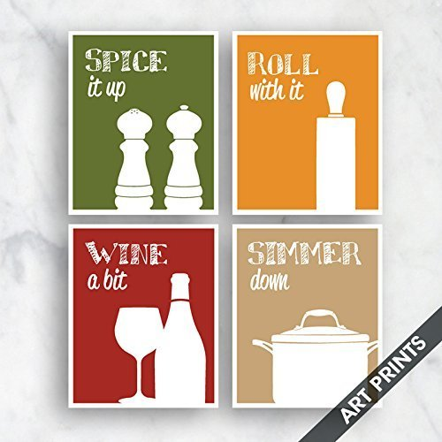(Funny Kitchen Art Print Set (Salt Pepper, Rolling Pin, Wine, Simmer Pot) Set of 4 - 5x7 inch Unframed Art Prints (Tuscany Style Colors) Kitchen Art- Larger sizes available by choosing drop down menu)