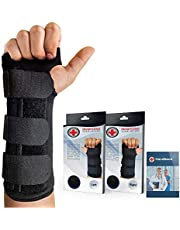 Doctor Developed Carpal Tunnel Night Wrist Brace & Wrist Support [Single] (with Splint) & Doctor Written Handbook - Fully Adjustable to Fit Any Hand
