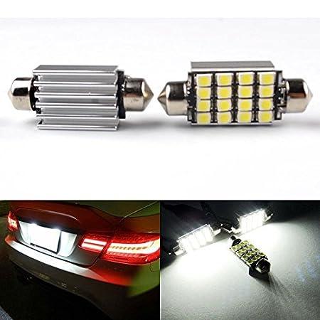RunQiao® 2 x Blanco 16 SMD LED C5 W 239 272 guirnalda Bombilla No Error REG Número de placa lámpara: Amazon.es: Coche y moto
