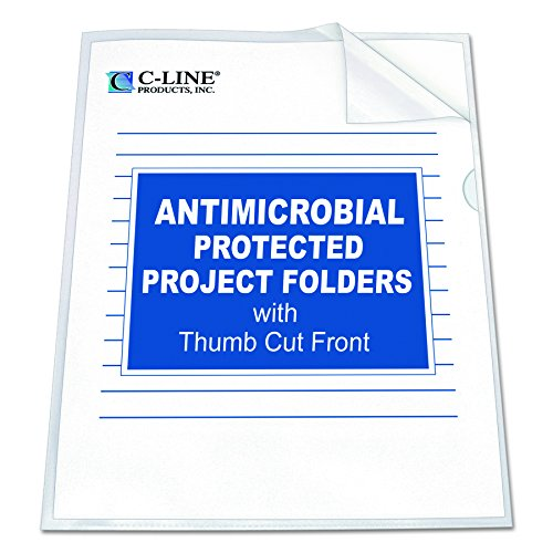 - C-Line Project Folder with Antimicrobial Protection, Reduced Glare, Letter Size, Clear, 25 per Box (62137)