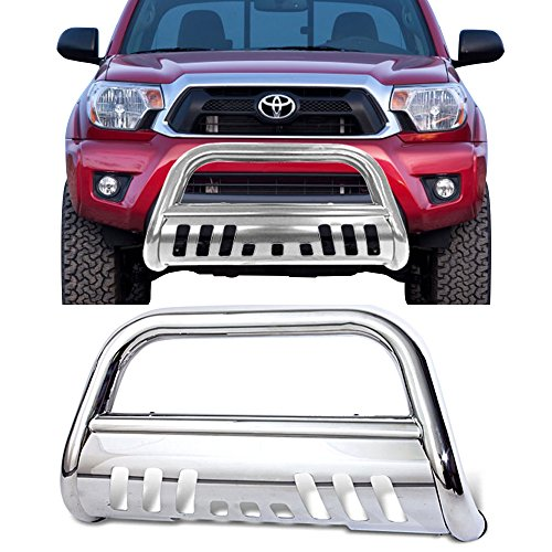 Bull Bar Fits 2005-2015 Toyota Tacoma | Stainless Front Bumper Grill Grille Guard by IKON MOTORSPORTS | 2006 2007 2008 2009 2010 2011 2012 2013 2014
