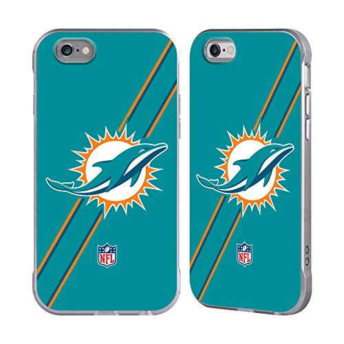 Official NFL Stripes Miami Dolphins Logo Silver Fender Case for Apple iPhone 6 / iPhone 6s Dolphin Fender