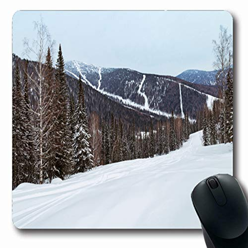 LifeCO Computer Mousepads Resort Winter Gornaya Shoria Russia Kemerovo in Region Slope Sheregesh Ski Sector Freeride Nature Oblong Shape 7.9 x 9.5 Inches Oblong Gaming Mouse Pad Non-Slip Rubber