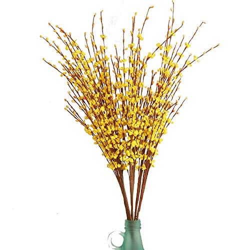 Artificial Flowers Fake Flower 10 Pieces Artificial Winter Jasmine Flowers for Wedding Bouquet Bride Holding Garlands Vine DIY Floral Art Plant Wedding Home Office Party Yard Decoration, Yellow 29