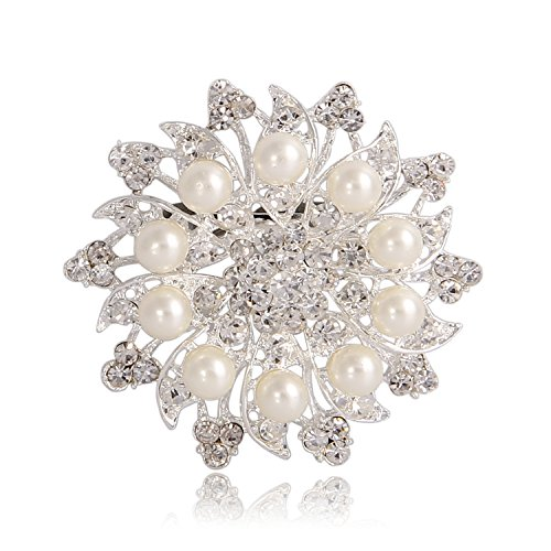 Valdler Fashion Jewelry Imitation Pearls Floral Ivory and Silver-Tone Crystal Brooch Pin