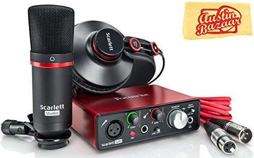 Focusrite Scarlett Solo Studio USB Audio Interface Bundle with XLR Cable and Polishing Cloth