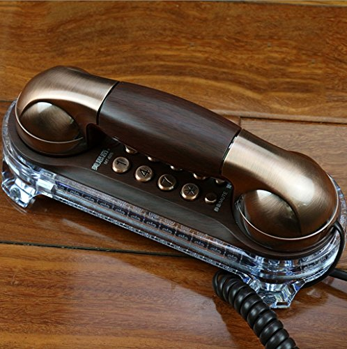 Antique Telephone Retro Wall-mounted Wired Telephone Continental Hotel Corridor, Bedside Phone, Wall Table Dual Use L7.7inW3.2in ( Color : Ancient nickel )