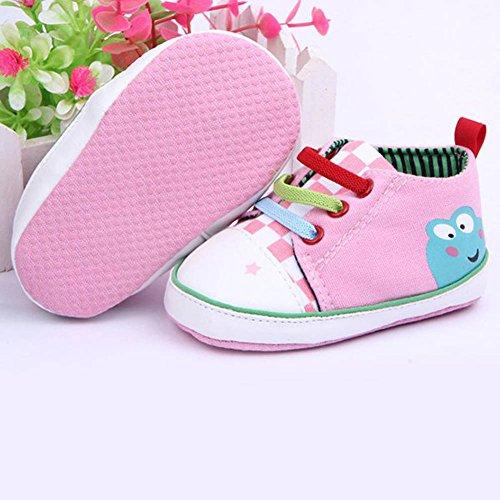Xiangze bebe nino nina suave cordon suela lona zapatos 0-12Meses Rosa