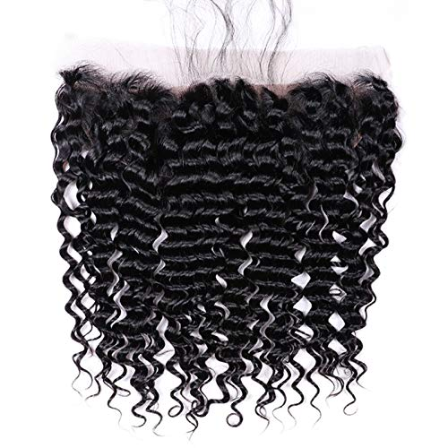 "Free Part Ear To Ear 13x4 Lace Frontal Closure Deep Wave 10"" Unprocessed Brazilian hair With Baby Hair Top Hair Extensions Nature Color Best Real Human Hair Lace Frontal ()"