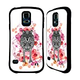 Official Monika Strigel Wolf Animals And Flowers Hybrid Case for Samsung Galaxy S5 / S5 Neo