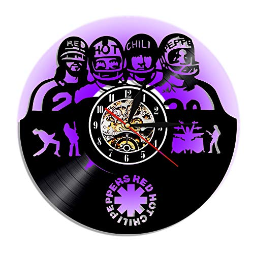 WANG2018 12-Inch Wall Clock, Vinyl Record Quartz Watch, Red Hot Chili Peppers LED Night Light, Handmade,Arabic Numerals Decorative Acrylic Round Bedroom Kitchen