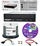 Pioneer 16x BDR-211UBK Internal Ultra HD Blu-ray BDXL Burner, Cyberlink Software and Cable Accessories Bundle with 50pk CD-R Verbatim 700MB 52X DataLifePlus White Inkjet, Hub Printable