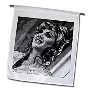 Jos Fauxtographee Realistic - A posturized black and white of a lovely woman with her hair up - 18 x 27 inch Garden Flag (fl_64735_2)