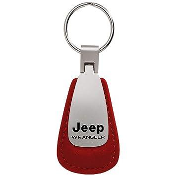dantegts Jeep Wrangler cuero llavero rojo Tear Drop Llavero ...