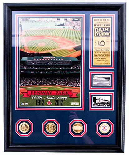 AUTHENTIC APPAREL MLB - 100th Anniversary Boston Red Sox Fenway Park Collectible Baseball Plaque - Framed Etched Glass