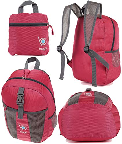 bago Lightweight Foldable Backpack for Travel and Sport - 25L Collapsible Daybag