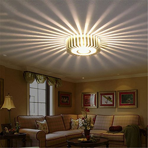 super1798 LED Wall Hall Ceiling Light Walkway Porch Decor Sun Flower Creative Lamp - Beige