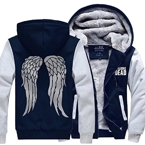 Cosfunmax TWD Daryl Dixon Wing Hoodie Fleece Sweatshirt Plus Velvet Hoody Coat Jacket 4XL