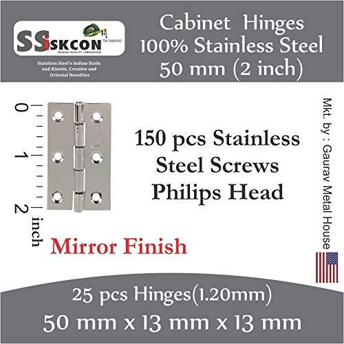 2 inch 25 pcs Butt Hinges Cupboard SSiSKCON Stainless Steel Folding Cabinet Hinges 2