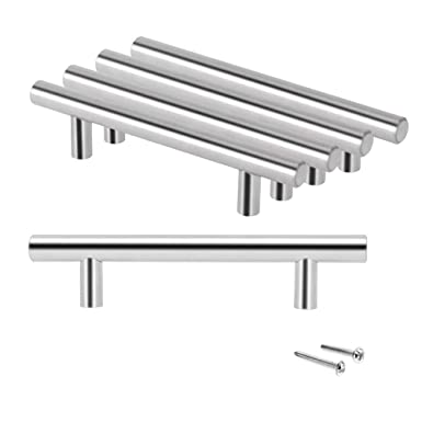 20 x Brushed Steel T Bar Kitchen Door Handles 128mm hole centres by ap office solutions ltd